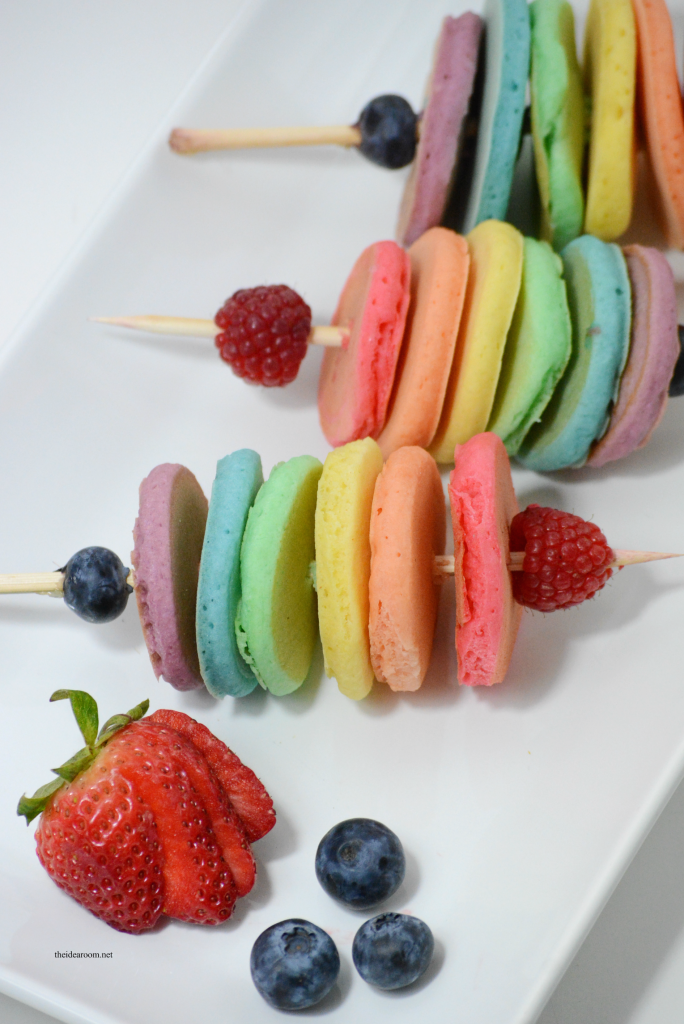 Recipes | Share some happiness on St. Patrick's Day with this fun breakfast idea...Rainbow Pancakes...fun food on a stick for your family this year.