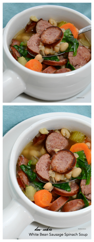 slow-cooker-white-bean-sausage-spinach-soup pin
