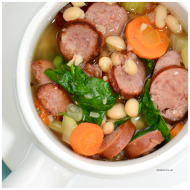 Slow Cooker White Bean Sausage Spinach Soup