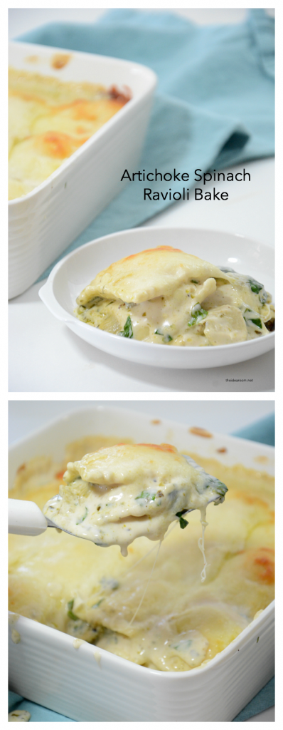 Recipes | Looking for an easy weeknight recipe? This Artichoke Spinach Baked Ravioli Recipe is an easy meal you can make in 30 minutes. A family favorite recipe.