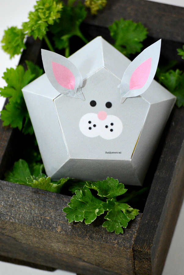 Origami | Free Printable Easter Bunny Box Template.  Make your own Easter gift or Easter Decorations...aren't they adorable?
