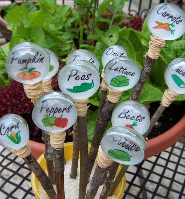 glass gem plant garden markers