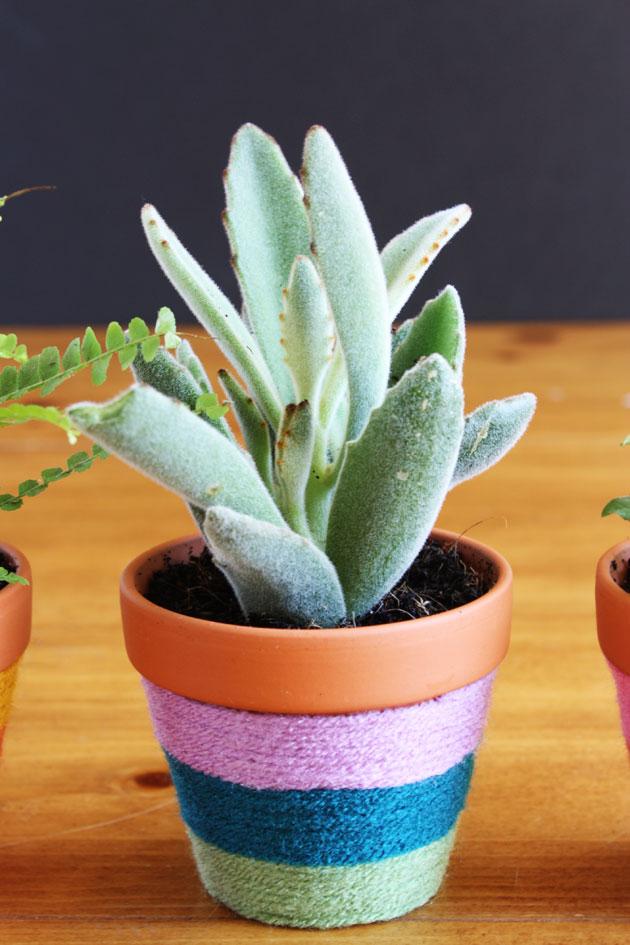 yarn-wrapped-flower-pots