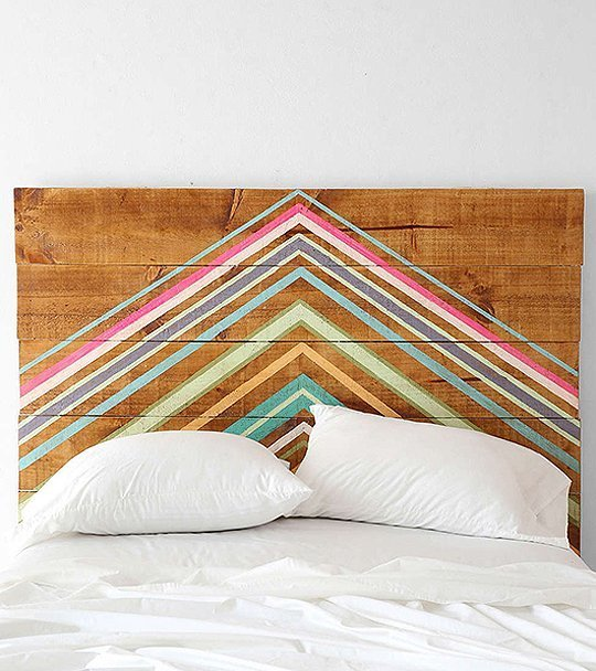 wood painted line headboard