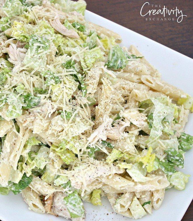 Chicken-Caesar-Pasta-Salad-Recipe-with-Romaine-and-Penne-Pasta.