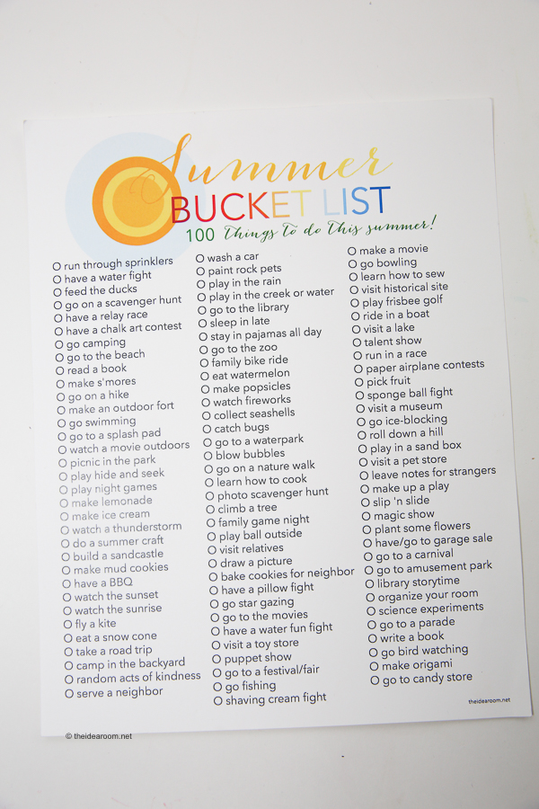 Summer Bucket List 100 Things to Do in Summer , The Idea Room
