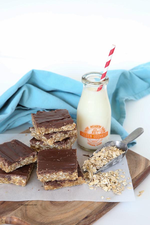 No-Bake Peanut Butter Oatmeal Bars theidearoom.net-2