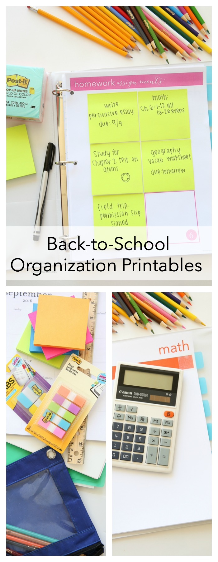 Free back to school printables with post it - Back to school organization ...