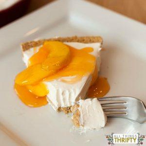 No Bake Cheesecake Dessert with Peach Glaze Topping