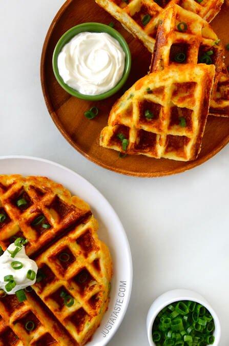 cheesy-leftover-mashed-potato-waffles-recipe