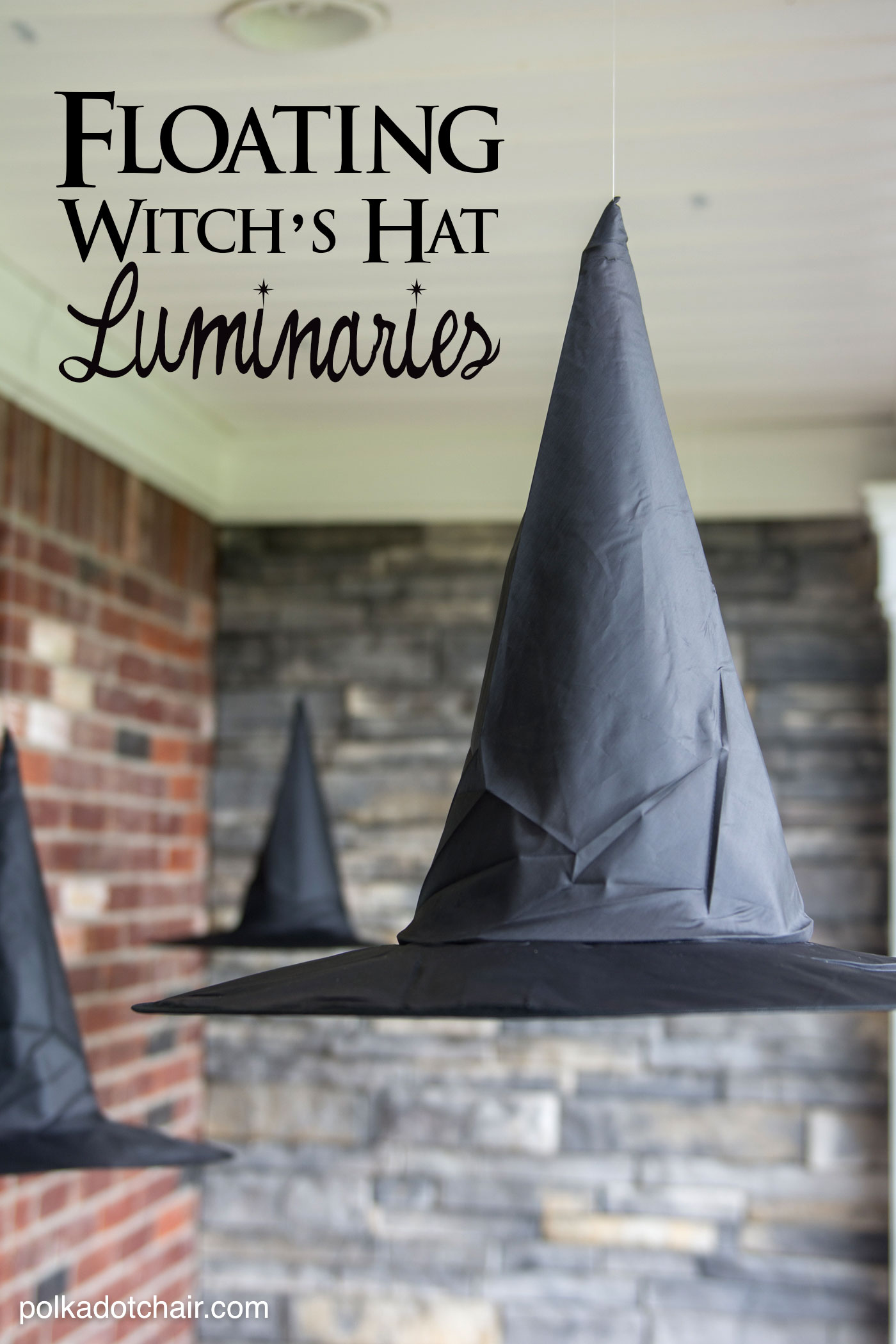 floating witch hat luminaries - Diy Outdoor Halloween Decorations