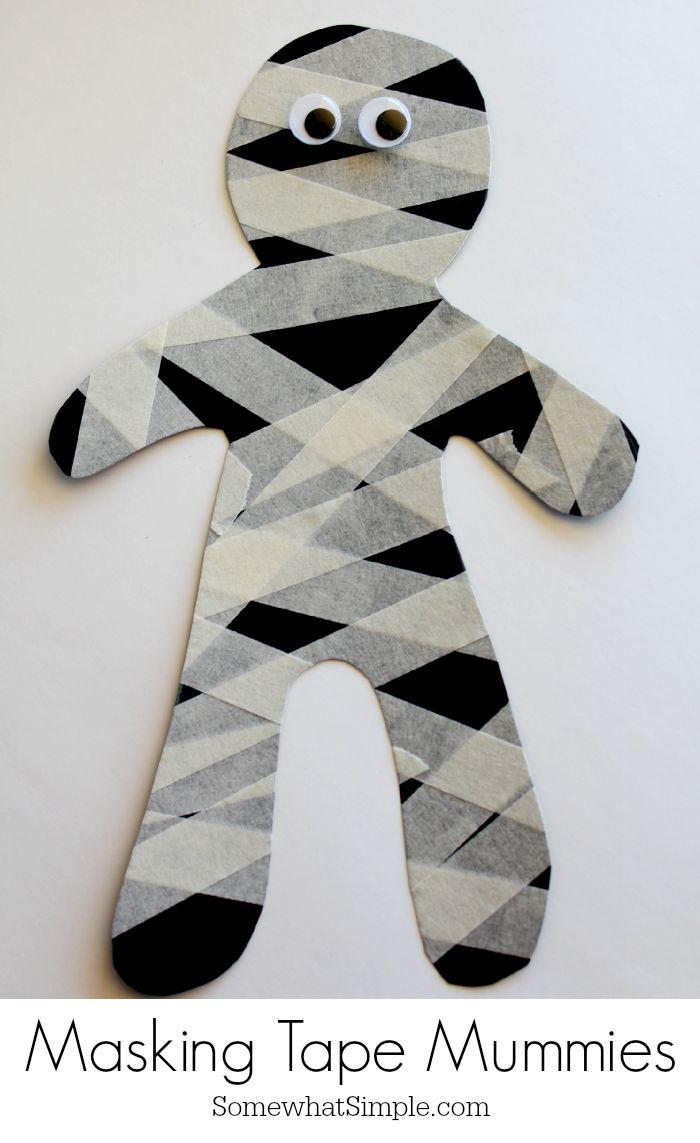 Easy-Halloween-Craft-for-Kids-Masking-Tape-Mummy