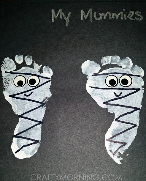 cute-footprint-mummies-halloween-kids-craft