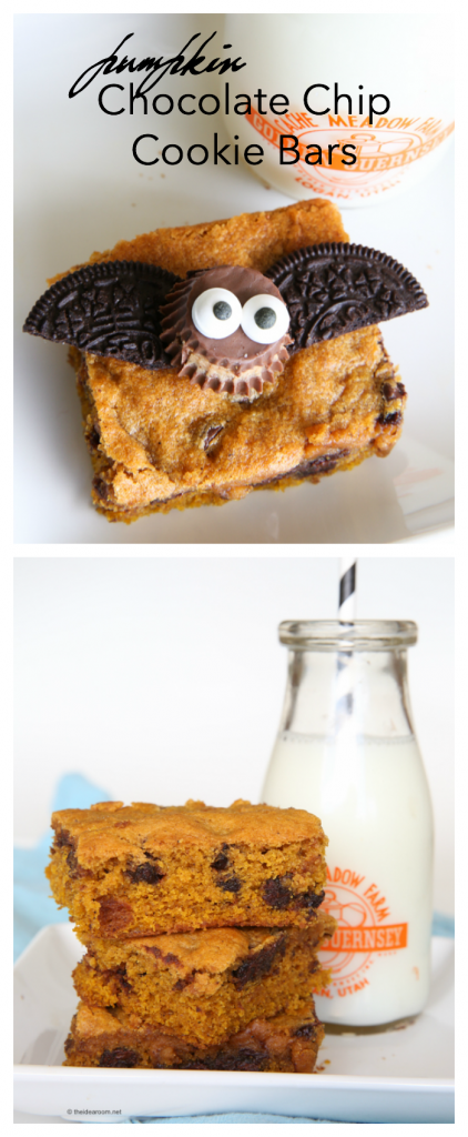 pumpkin chocolate chip cookie bars pin