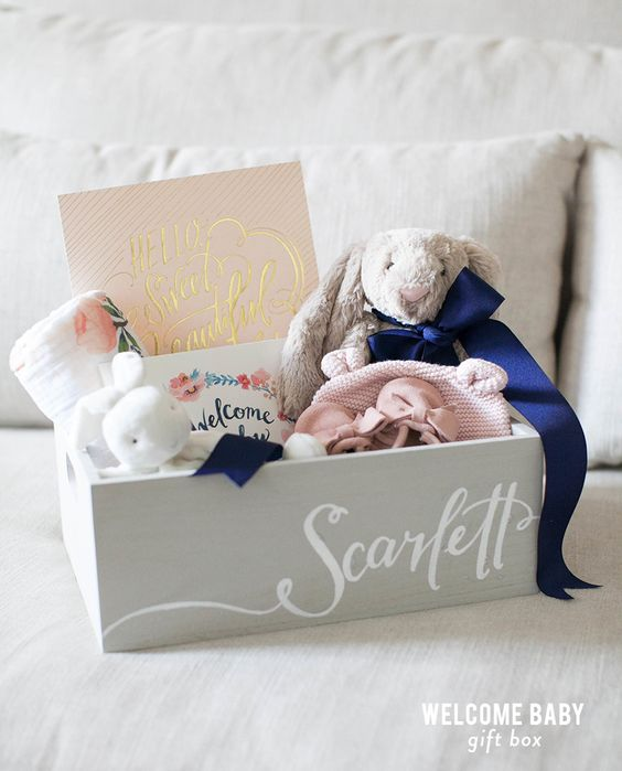 do-it-yourself-gift-basket-ideas-for-all-occassions-welcome-baby-gift-box-and-template-to-create-your-own-welcome-baby-card-via-style-me-pretty-living-1