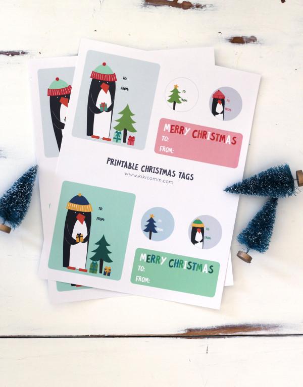 penguin christmas gift tags