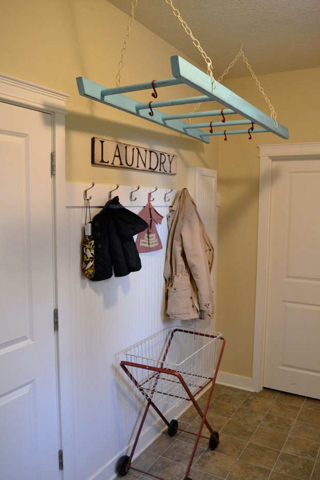 laundry-room-organization-ideas-ladder-laundry-hack