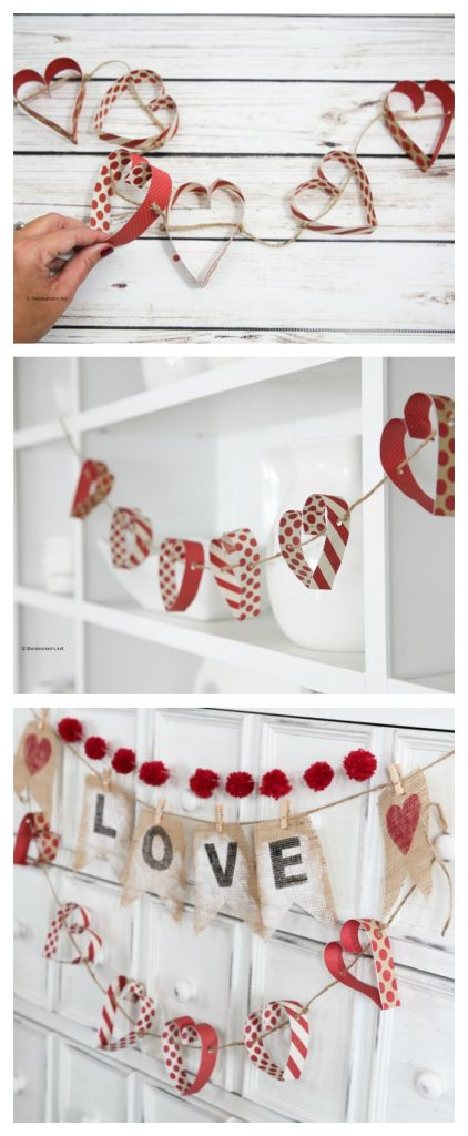 paper heart garland pin