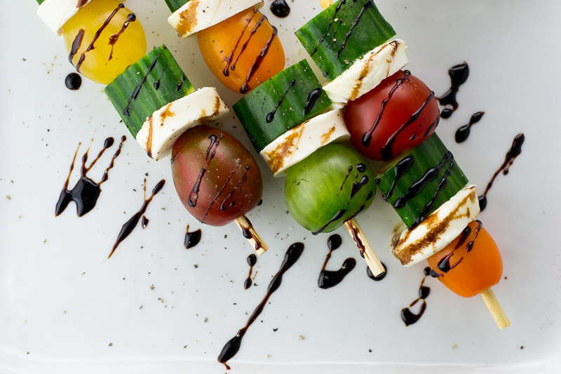 caprese salad kebabs with balsamic dressing