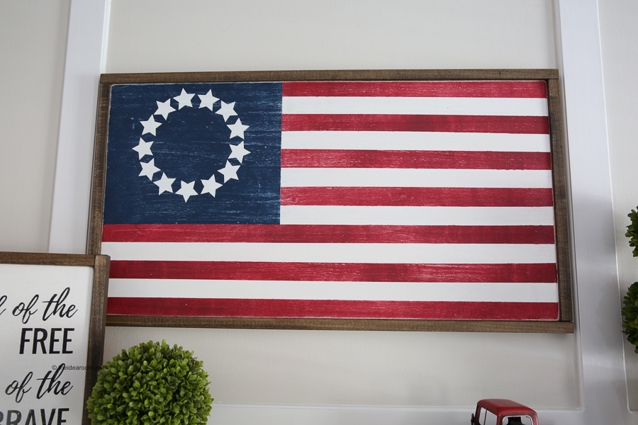 DIY american flag farmhouse wood sign