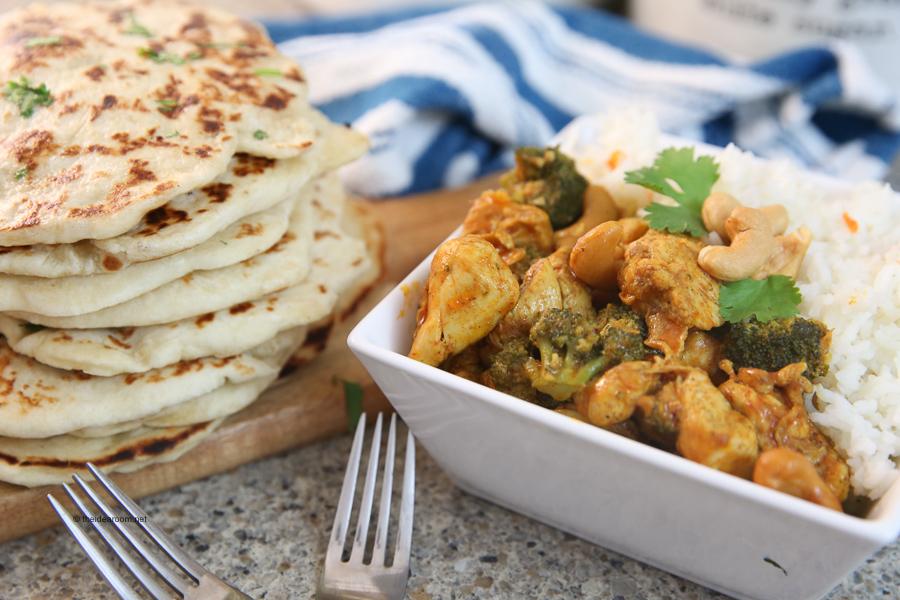 dinner recipe garlic naan bread