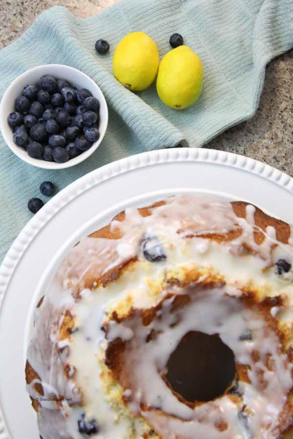 Glazed Lemon Blueberry Bundt Cake Dessert Recipe