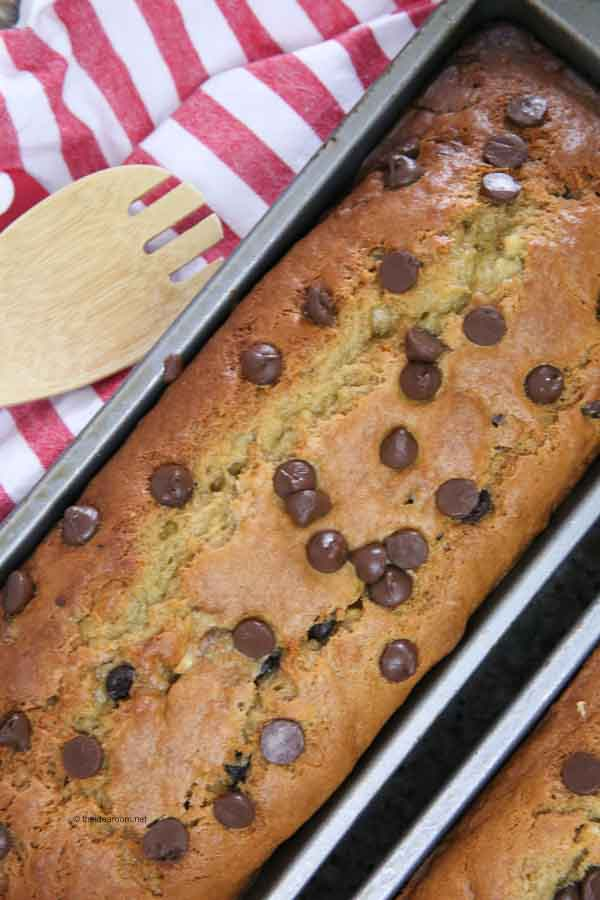 Peanut butter banana bread in pan
