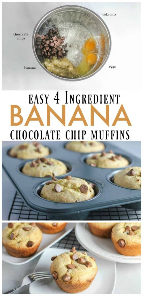 Easy 4 ingredient banana chocolate chip muffins