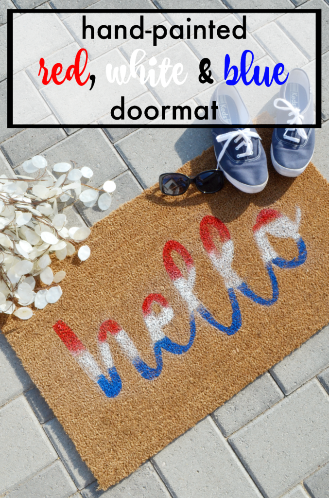 DIY Handpainted Red, White and Blue Doormat