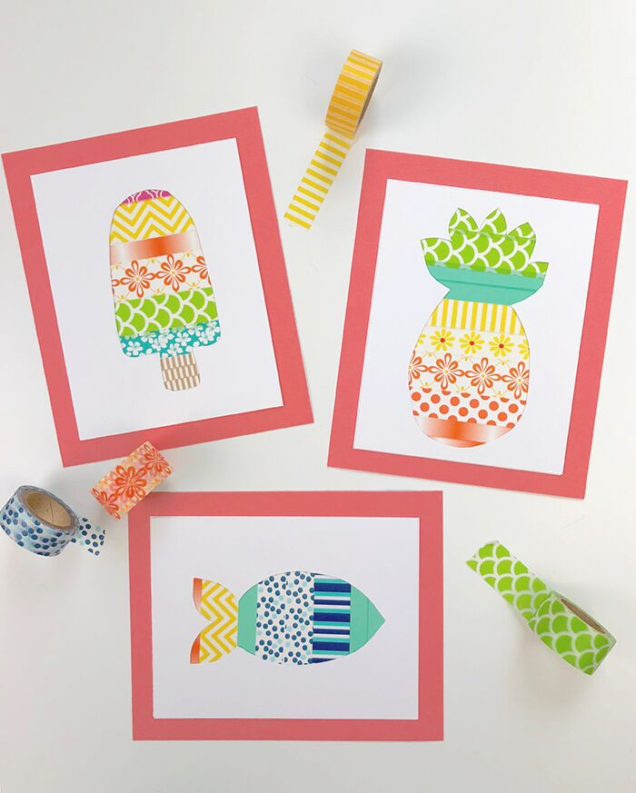Washi Tape Popsicle, Pineapple, and Fish Picture