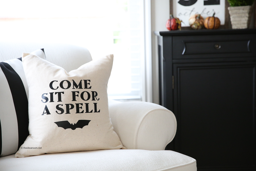 Come Sit For A Spell DIY Cricut Pillow