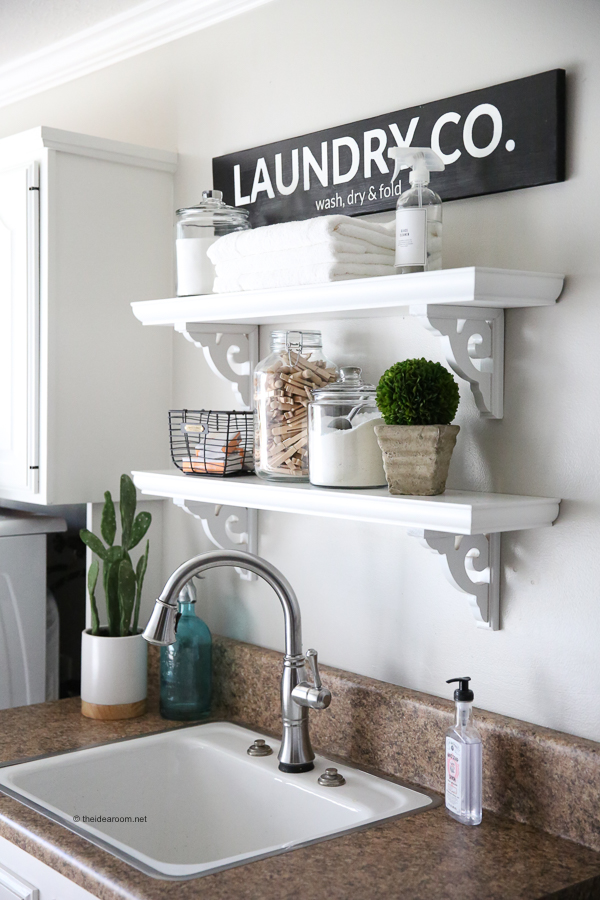 Laundry Room Shelves and Decor