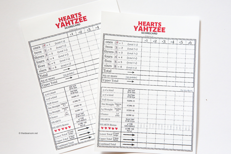Valentines Yahtzee Game The Idea Room